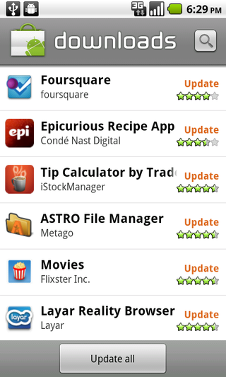 update all feature in android 2.2 Froyo